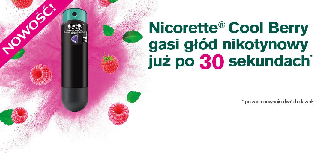 NOWOŚĆ! Nicorette® Cool Berry gasi głód nikotynowy już po 30 sekundach* * po zastosowaniu dwóch dawek